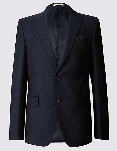 Navy Herringbone Slim Fit Jacket