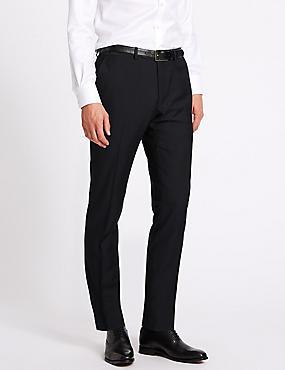 Navy Herringbone Slim Fit Trousers