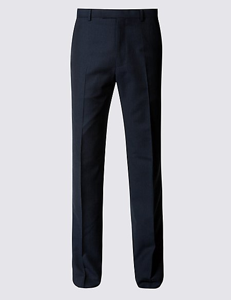Navy Herringbone Slim Fit Trousers