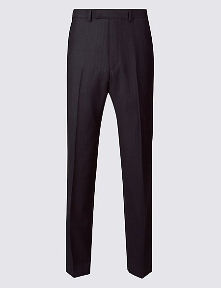 Striped Regular Fit Wool Trousers