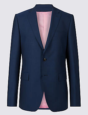 Blue Striped Tailored Fit Wool Jacket