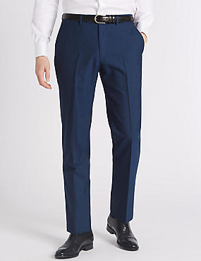 Blue Striped Tailored Fit Wool Trousers