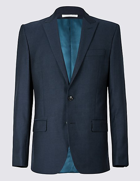 Navy Striped Tailored Fit Wool Jacket