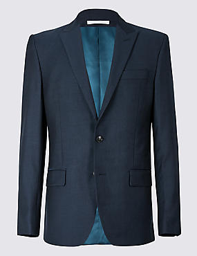 Navy Striped Tailored Fit Wool Suit