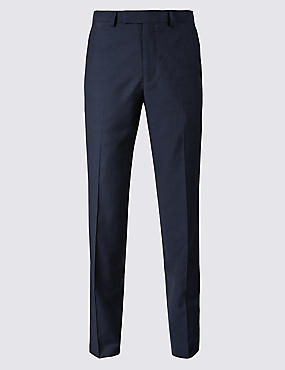 Navy Striped Tailored Fit Wool Trousers