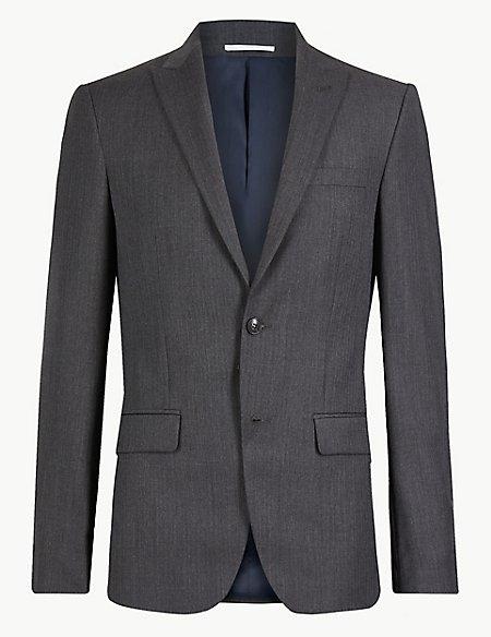 Textured Slim Fit Wool Jacket