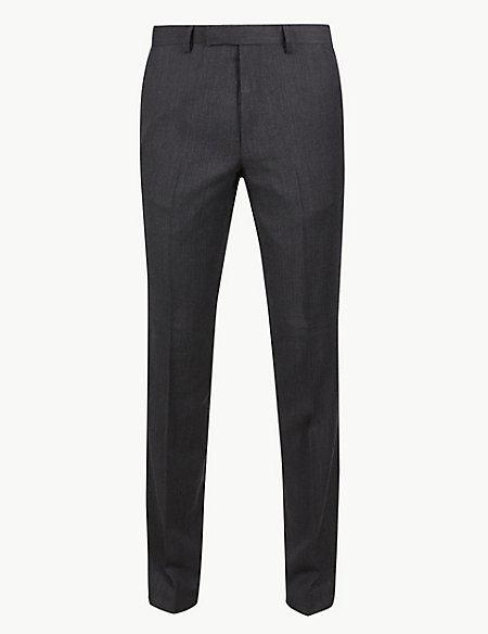 Textured Slim Fit Wool Trousers