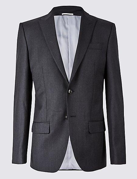 Herringbone Regular Fit Wool Jacket