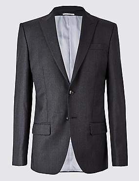 Herringbone Regular Fit Wool Suit