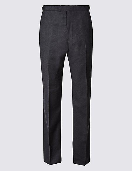 Herringbone Regular Fit Wool Trousers