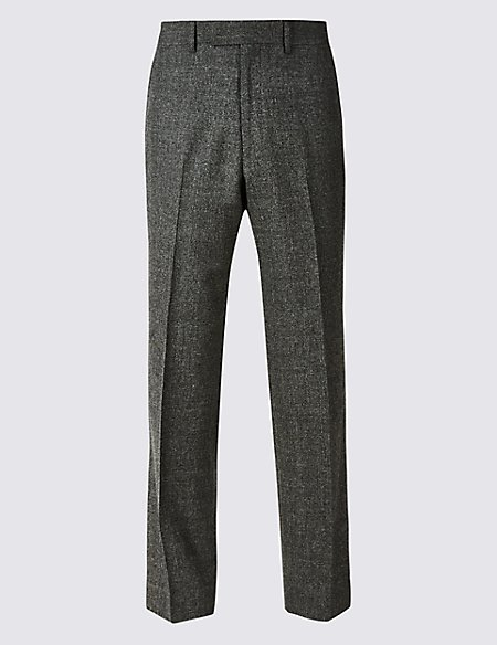 Charcoal Textured Regular Fit Wool Trousers