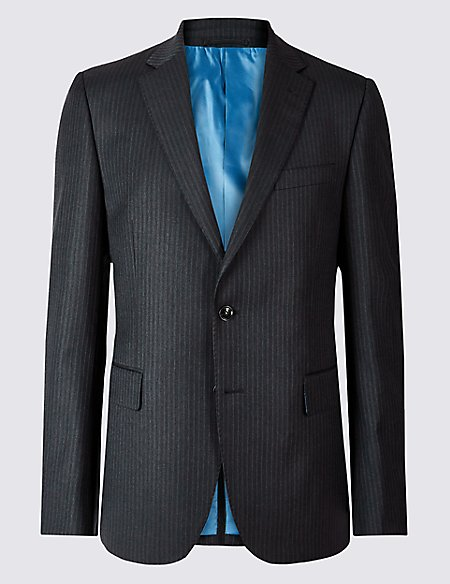 Striped Tailored Fit Wool Jacket