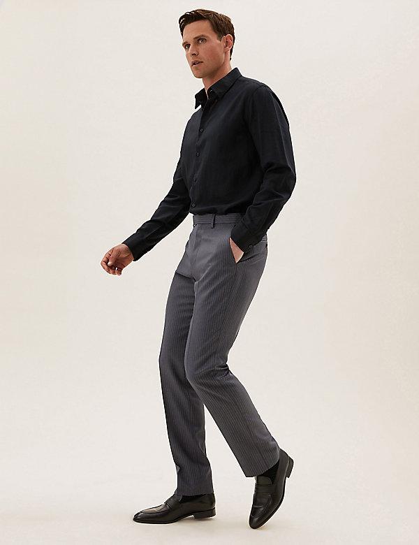 Regular Fit Pure Wool Pinstripe Trousers