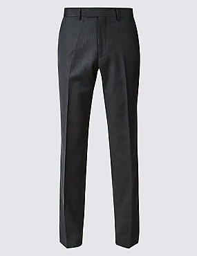 Striped Tailored Fit Wool Trousers