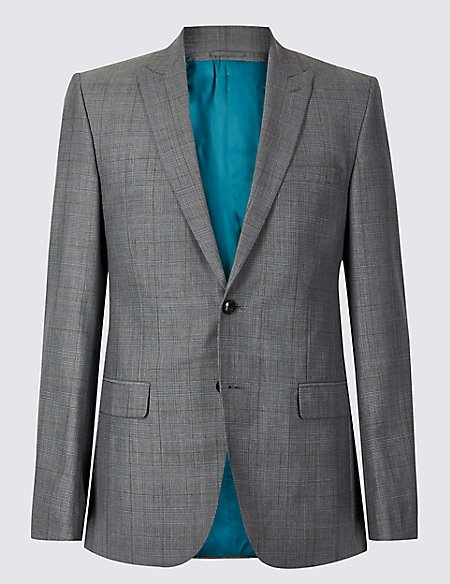 Grey Checked Tailored Fit Wool Jacket