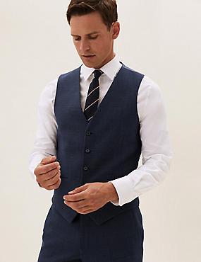 Navy Wool Textured Waistcoat