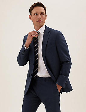 Navy Tailored Fit Wool Textured Jacket