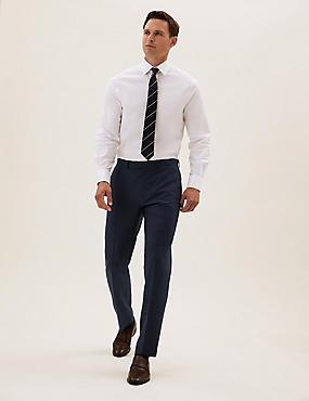 Pantalon bleu marine en laine coupe ajustée à motif texturé