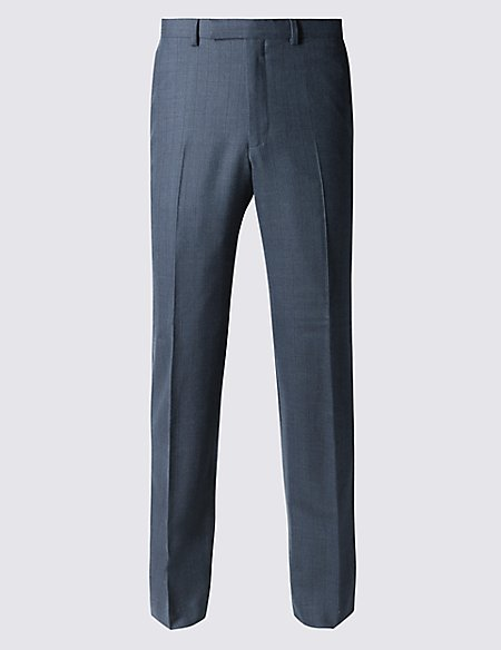 Navy Textured Tailored Fit Wool Trousers