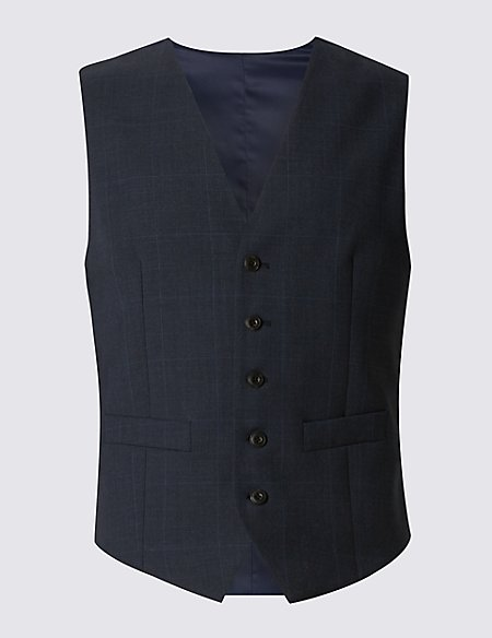 Navy Checked Tailored Fit Wool Waistcoat