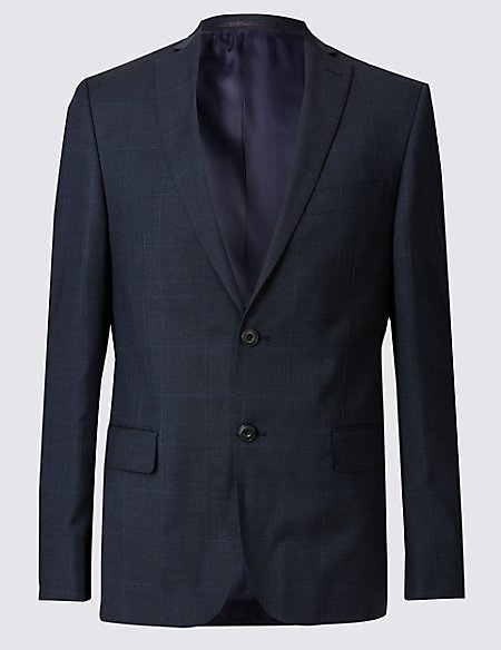 Navy Checked Slim Fit Wool Jacket