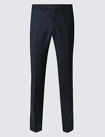 Navy Checked Slim Fit Wool Trousers