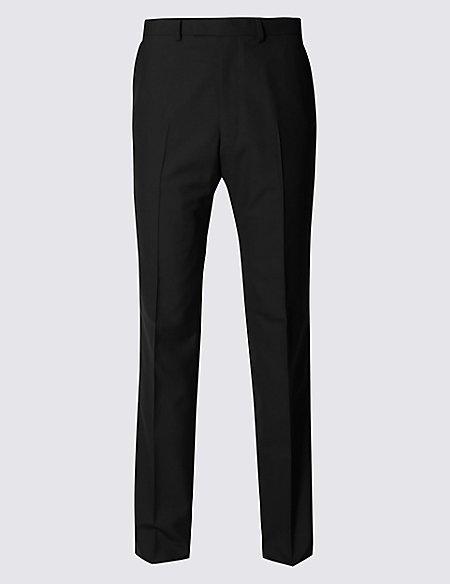 Black Regular Fit Wool Trousers