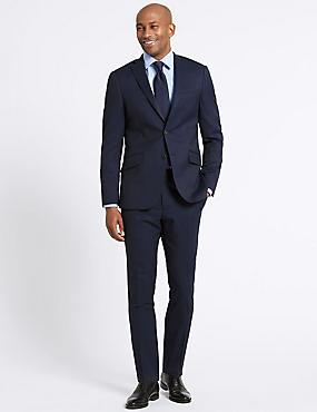 Navy Striped Slim Fit Wool 3 Piece Suit