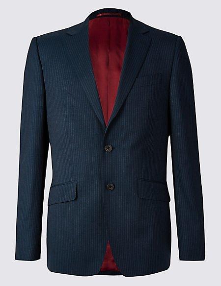 Navy Striped Slim Fit Wool Jacket