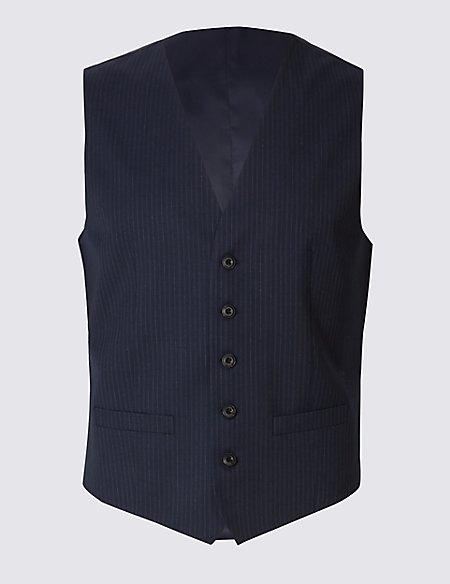 Navy Striped Regular Fit Wool Waistcoat