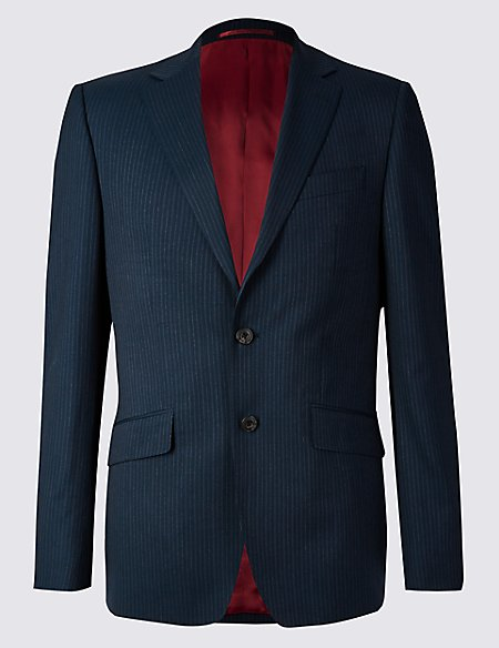 Navy Striped Regular Fit Wool Jacket