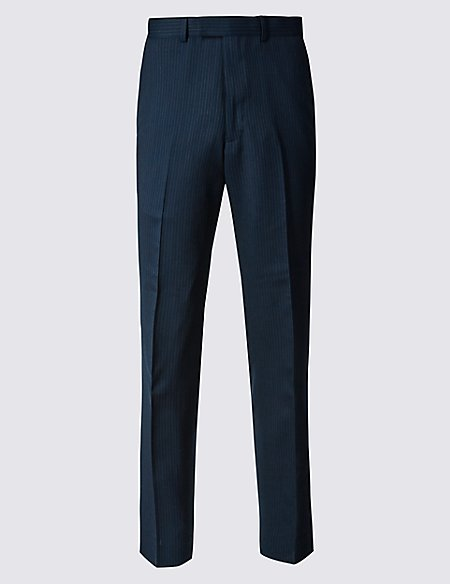 Navy Striped Slim Fit Wool Trousers