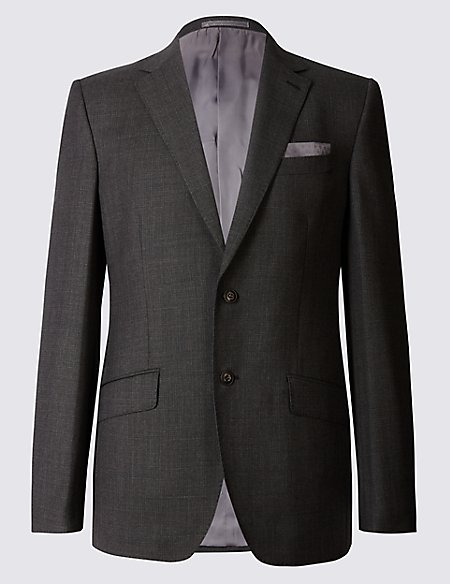 Textured Regular Fit Wool Jacket