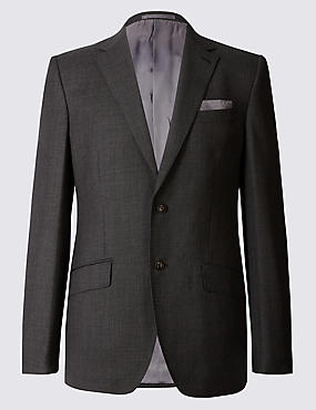Textured Regular Fit Wool Suit