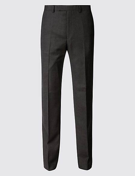 Textured Regular Fit Wool Trousers