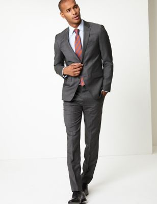 Grey Slim Fit Wool Jacket