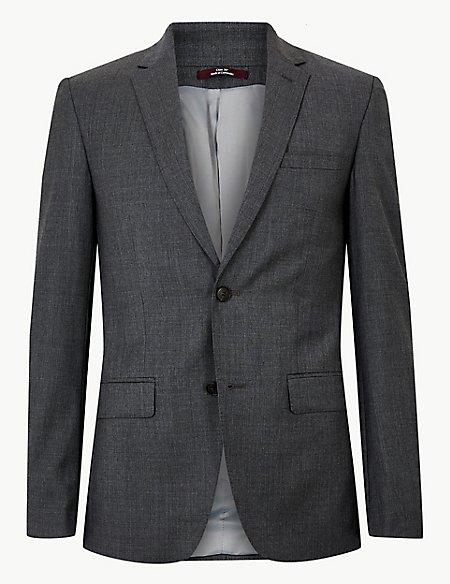Grey Slim Fit Wool Jacket