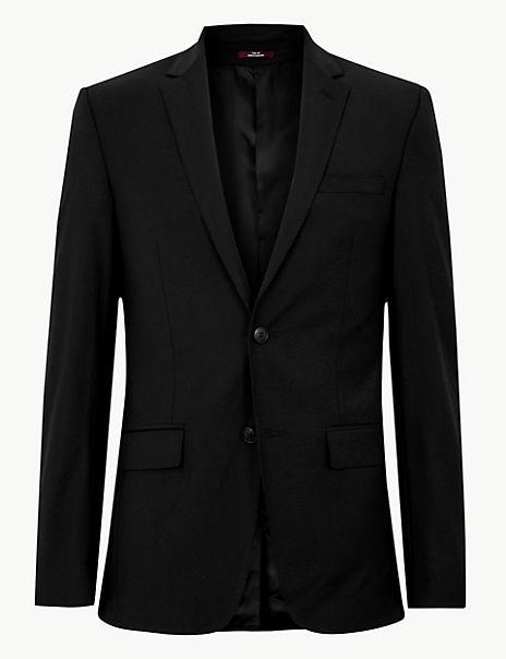Black Slim Fit Wool Jacket
