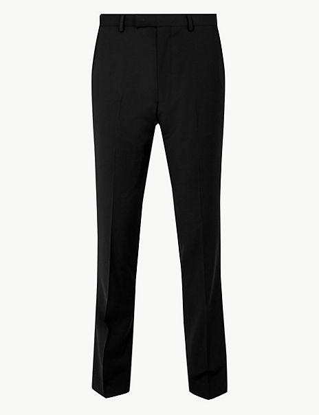 Black Slim Fit Wool Trousers