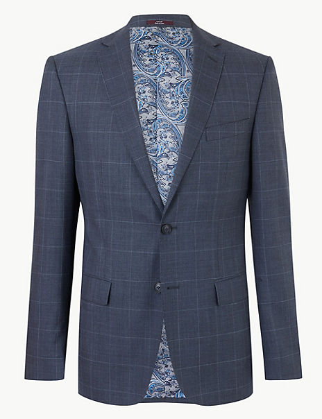 Blue Checked Tailored Fit Wool Jacket
