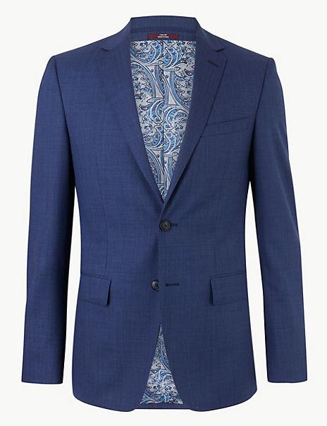 Blue Textured Slim Fit Wool Jacket