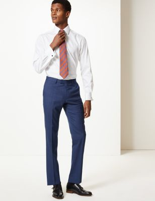 Blue Textured Slim Fit Wool Trousers