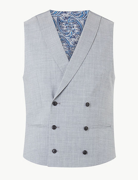 Grey Textured Regular Fit Waistcoat