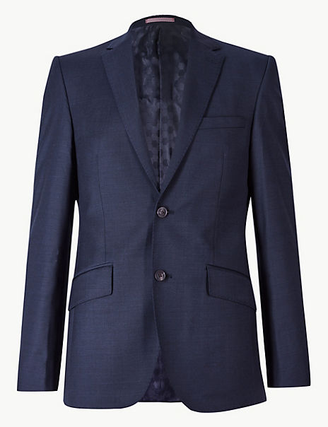 Navy Slim Fit Wool Jacket