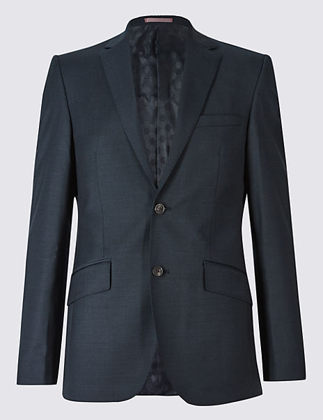Big & Tall Navy Tailored Fit Wool Jacket