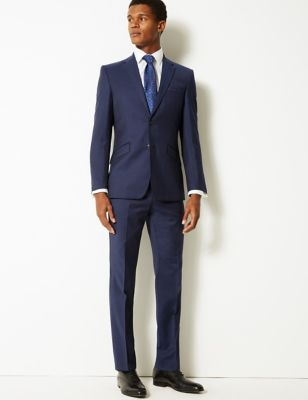 Navy Slim Fit Wool Trousers