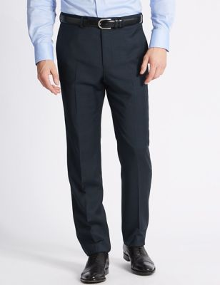 Big & Tall Navy Tailored Fit Wool Trousers