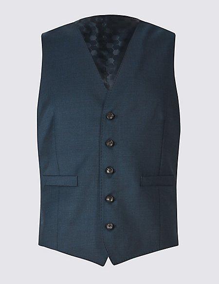 Navy Slim Fit Wool Waistcoat