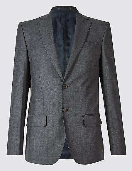 Charcoal Textured Regular Fit Wool Jacket