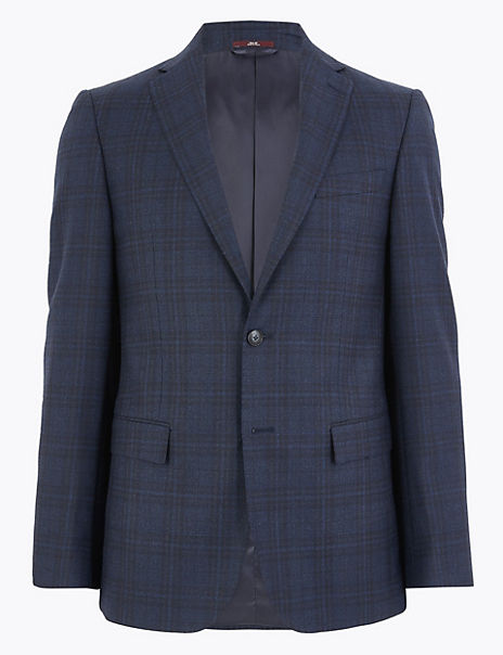Blue Checked Tailored Fit Jacket